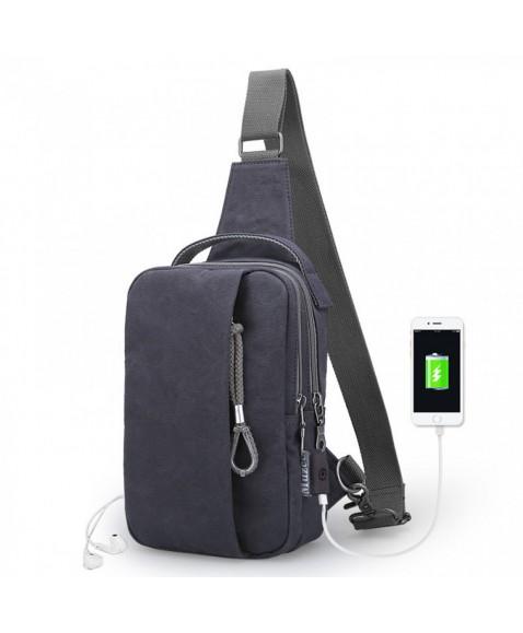 Рюкзак с одной лямкой MUZEE ME076 USB-Dark blue